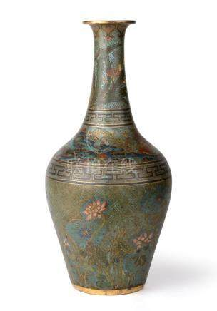 A Chinese Cloisonné Baluster Vase, Qing Dynasty, probably Qianlong, of baluster form with tall