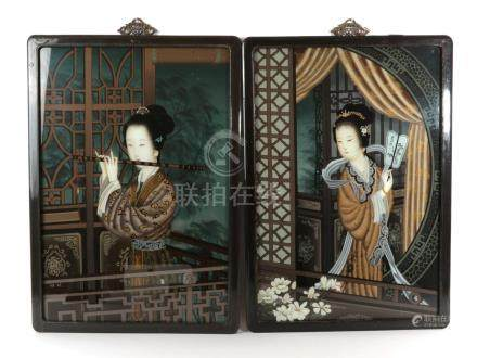 Chinese School (late Qing Dynasty): A Pair of Reverse Paintings on Glass, depicting beauties, one