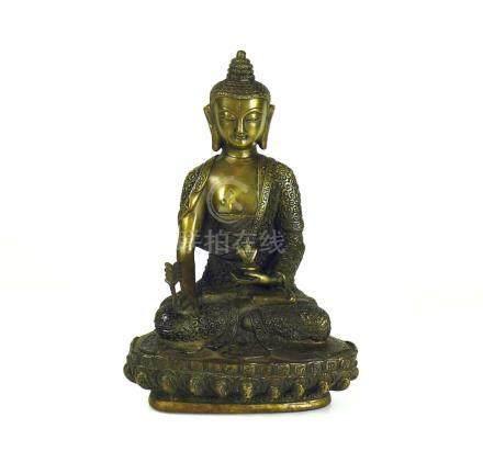 Buddhaauf Lotussockel sitzend; Bronze; H: 30 cm