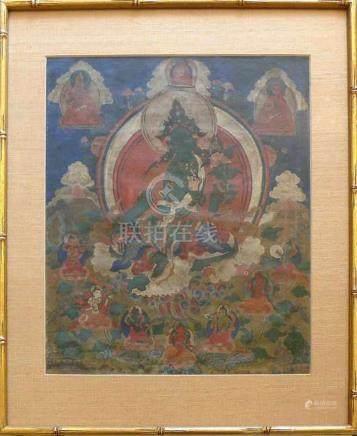 Thangka (wohl Tibet, 19.Jh.)farbige Malerei; ca. 52 x 42 cm; unter PP hinter Glas gerahmt;