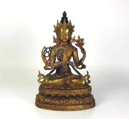 "Buddha ""AVALOKITESHVARA"" (wohl Tibet, 19.Jh.)4-armige Darstellung; sitzend auf Lotussockel;"