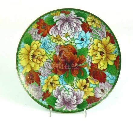 Cloisonné-Teller (China)farbiger Blütendekor; Messingrand; D: 23 cm