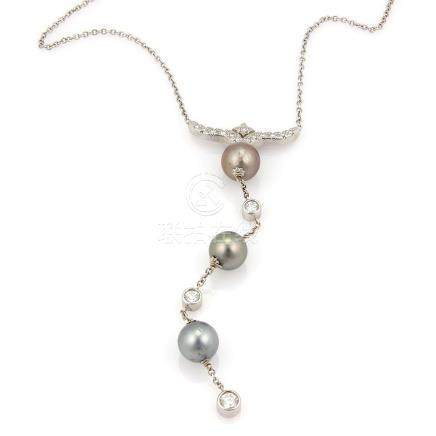 ESTATE 14K WHITE GOLD DIAMOND & TAHITIAN PEARL DANGLE