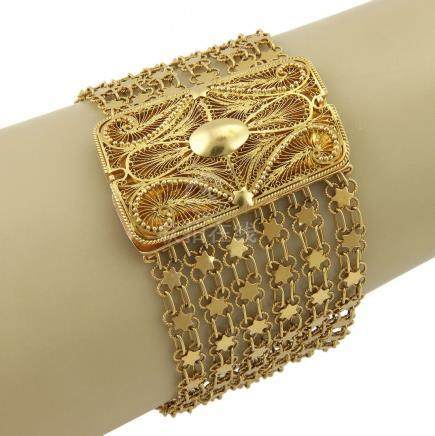 VINTAGE 18K YELLOW GOLD MULTI STRAND STAR LINK FILIGREE