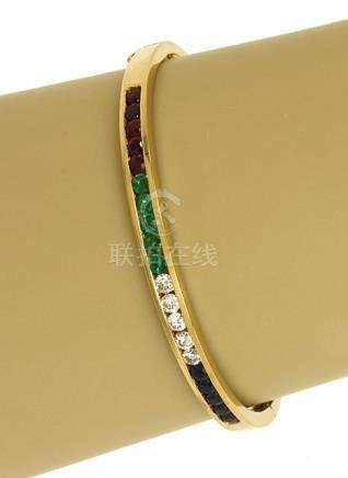 LOVELY 18K YELLOW GOLD, DIAMONDS, SAPPHIRES, RUBIES