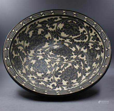 Chinese Black-White Porcelain Big Bowl.