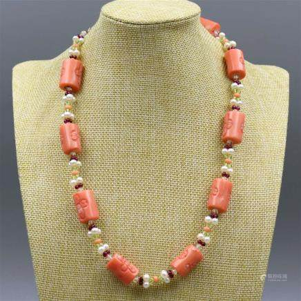 Natural Coral Necklace with 925 Silver Lock.