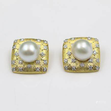 18K Gold Earrings with Diamonds and Pearls.