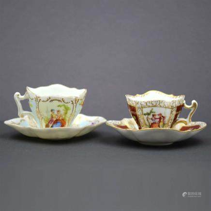 Porcelain Minicups Decorated by Helena Wolfsohn.