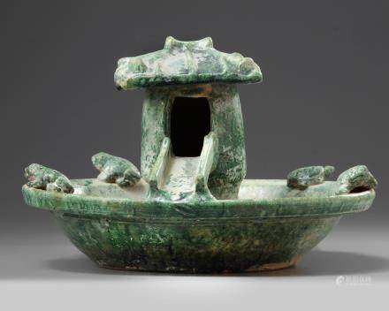 A Chinese green-glazed pottery frog pond