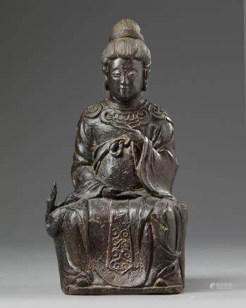 A Chinese bronze figure of a female immortal