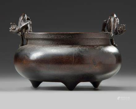 A Chinese bronze 'qilin' tripod censer