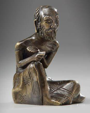 A Chinese bronze figure of the ascetic Shakyamuni