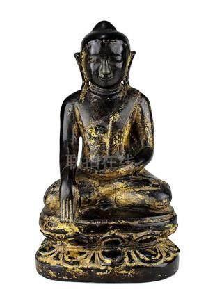 Keramik Buddha, Burma 19 Jh. In sitzender Haltung meditierender Buddha auf Lotosthron, schwarz