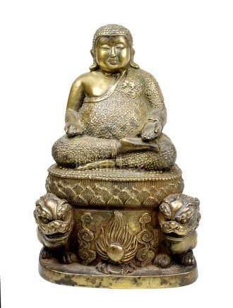 Chinesischer Bronzebuddha, 19. Jh., beleibter Buddha in meditierender Haltung auf Lotusthron, am