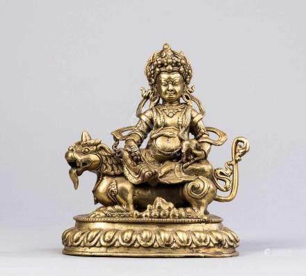 Sitzender Bodhisattva Avalokitesvara auf Löwe. Lotossockel. Bronze. Tibet, 19. Jh. H 18,5 cm