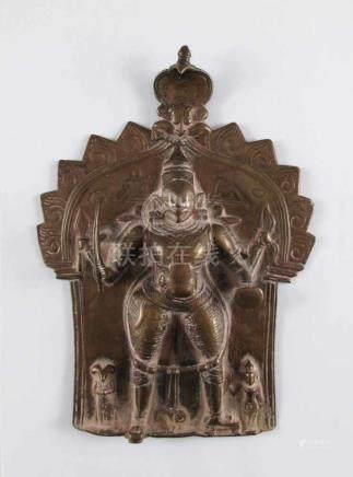 Shiva-Relief. Vierarmiger Shiva mit Adorationsfiguren unter Naga. Bronze. Indien, 18. Jh. oder
