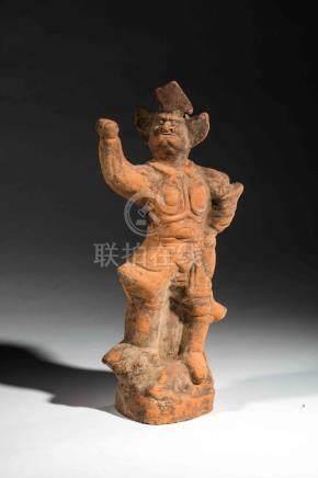 Offrande Mingqi illustrant un Lokapala gardien des quatre points cardinaux debo