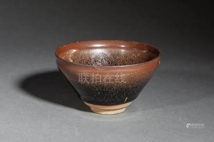 Coupe temoku en fin grès porcelaineux à glaçure dite fourrure de lièvre brune e