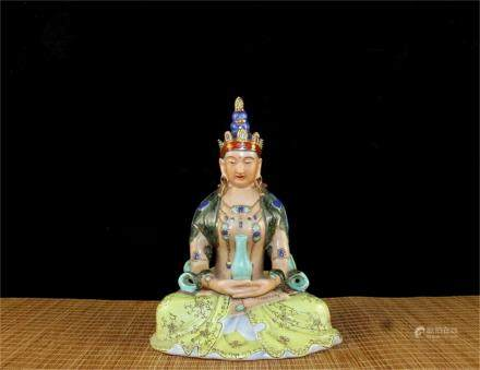 A Chinese Famille-Rose Porcelain Seated Buddha