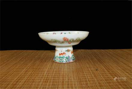 A Chinese Famille-Rose Porcelain High-Foot Plate
