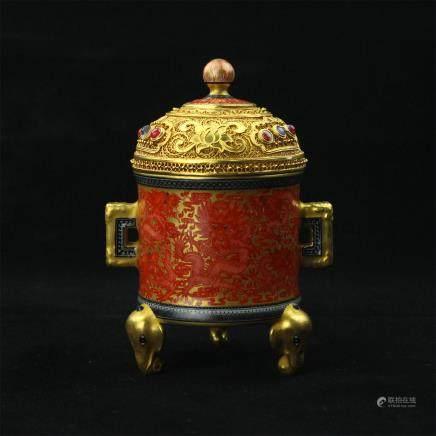 A Chinese Gilt Glazed Porcelain Incense Burner