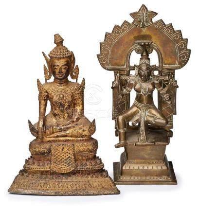 Satz von 2 versch. Bronzen,Südostasien 20. Jh. a) Buddha auf gestuftem Thron, eine Hand m.
