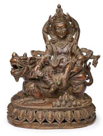 Reiter Jambhala, Tibet 1. Hälfte 20. Jh.Bronze, braun patiniert. Auf Löwen reitender Gott m. reich