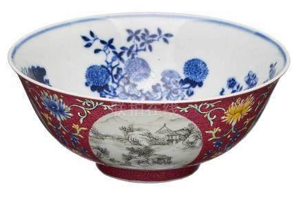 Kumme, China wohl 1811.Porzellan m. Blaumalerei-Dekor (innen) u. bunten Schmelzfarben (außen).