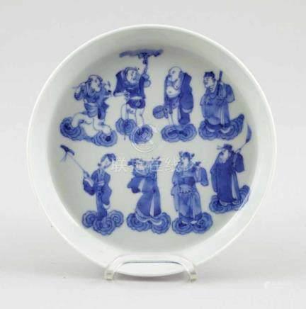 Flache SchaleChina, Anfang 20. Jahrhundert. Porzellan. Blaue Unterglasurmalerei. H. 3,5 cm. D. 16