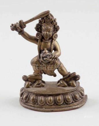 "BodhisattvaTibet, um 1900. - ""Khadgapani"" - Bronze. H. 10,5 cm."