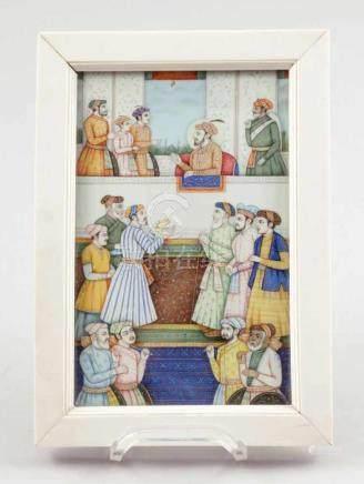 MiniaturIndien, um 1900. Gouache/Elfenbein. 15 x 10 cm. Elfenbeinrahmen. Die Miniatur zeigt wohl