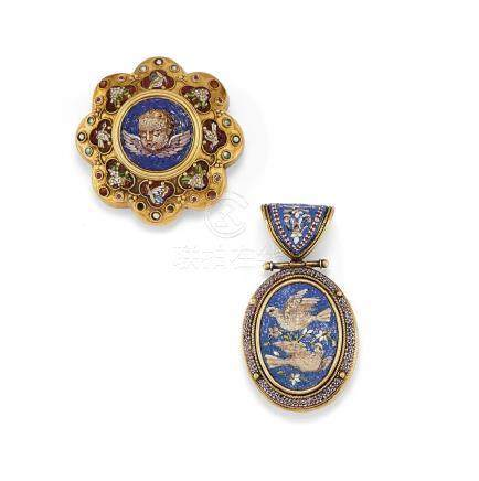 Antique micromosaic pendant and brooch