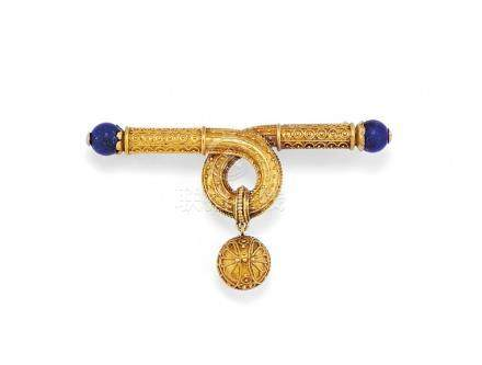 antique gold and lapis lazuli brooch