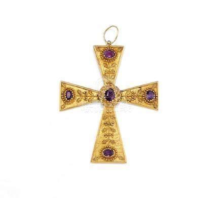 antique amethyst cross pendant