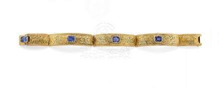 synthetic blue sapphire bracelet