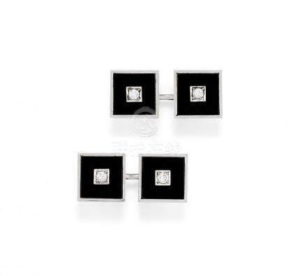 pair of onyx and diamond cufflinks