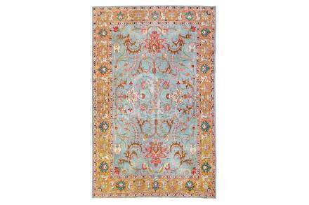 A SIGNED TABRIZ CARPET, NORTH-WEST PERSIA approx: