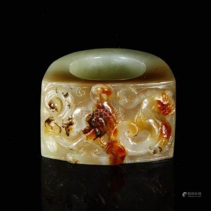 Carved Hetian Jade Archer Thumb Ring