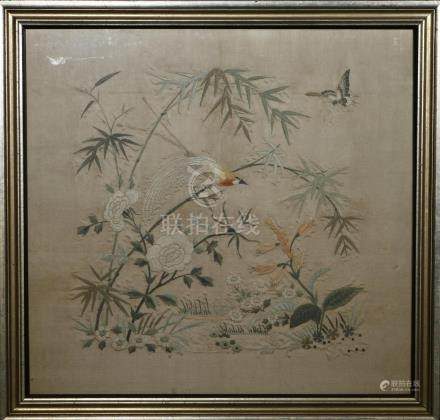 Framed Silk Embroidery of Flowers and Birds