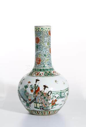 Famille Rose Vase with Ladies and Children