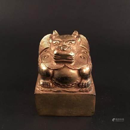 Chinese Gilt Bronze 'Ruishou' Seal