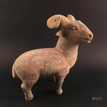 Chinese Pottery 'Ram' Statue Ornament