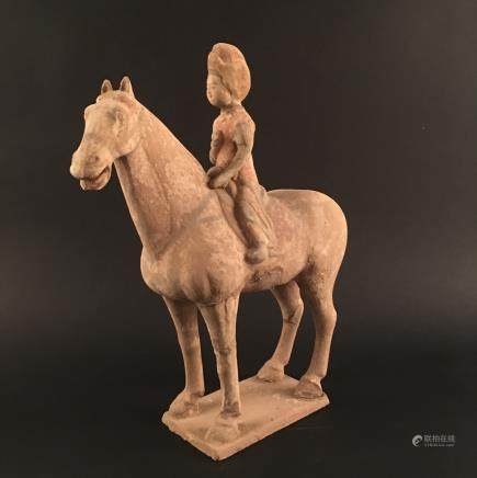 Chinese Tang Style Painting Pottery 'Beauty on Horse' Statue Ornament