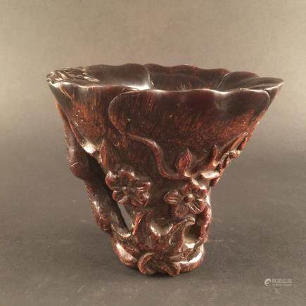 Chinese Ox-horn Carving Wine Cup
