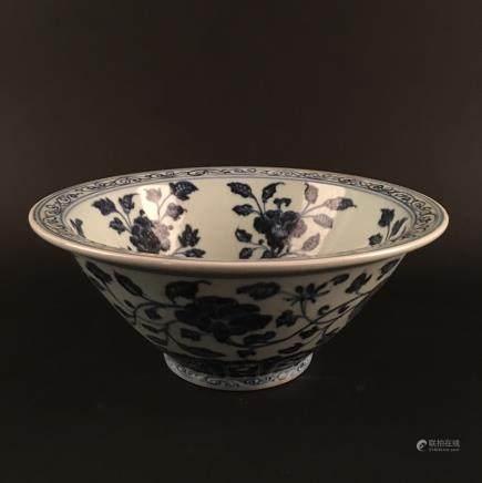 Chinese Blue-White Porcelain 'Flower' Bowl, Xuan De Mark