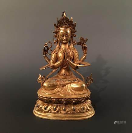 Chinese Gilt Bonze Buddha Statue
