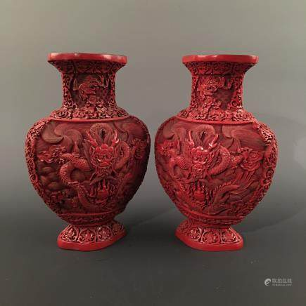Pair Chinese Lacquare Ware Vase