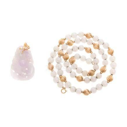 A Jade Beaded Necklace & Lavender Jade Pendant