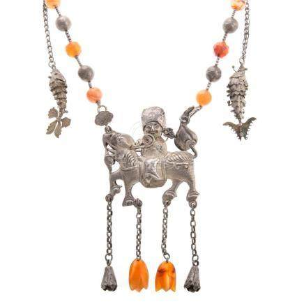 Chinese Qing Dynasty Silver and Carnelian Necklace